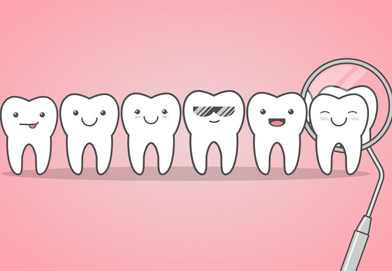 Cartoon drawing of happy teeth with pink background.